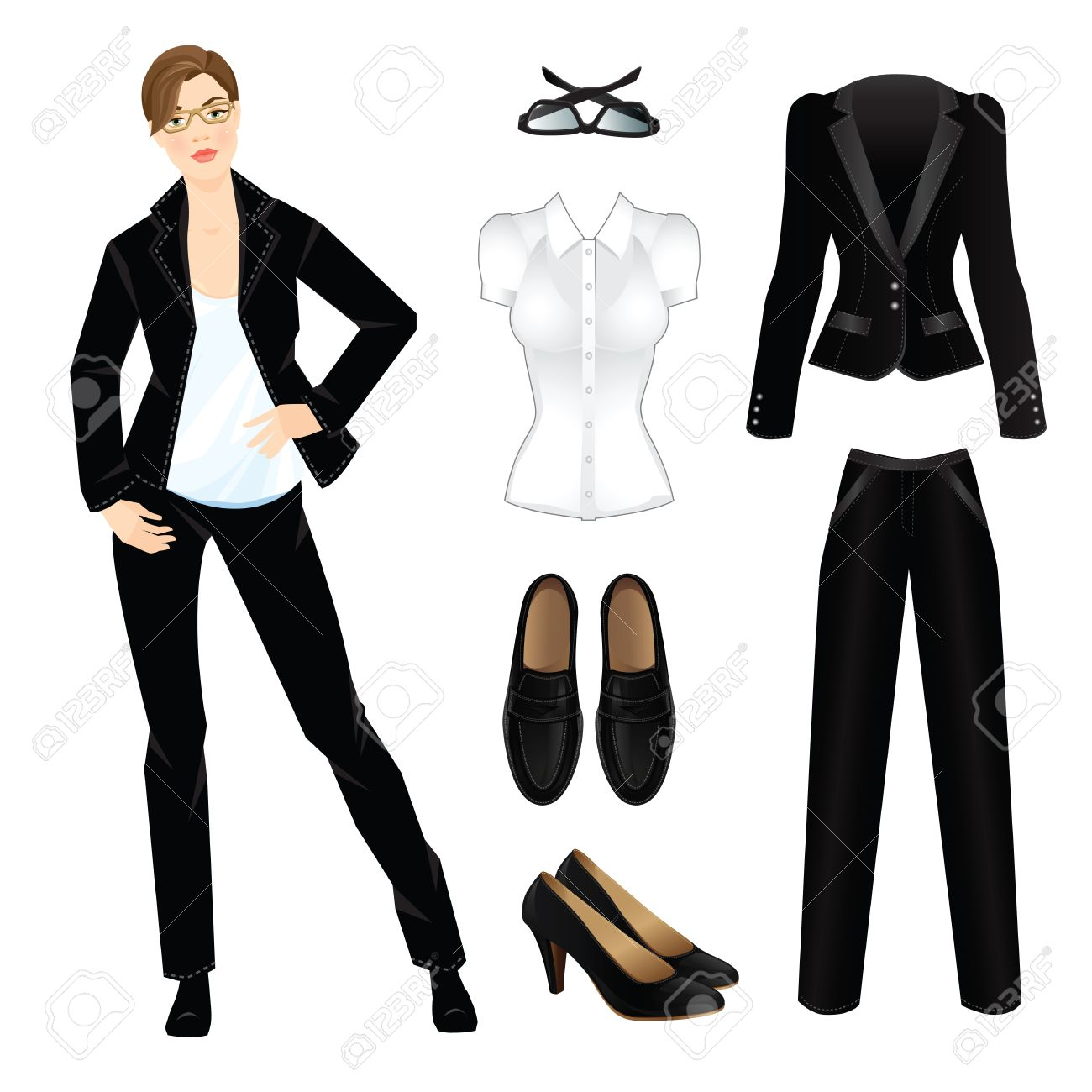 1e9e367d85 illustration of corporate dress code. Office uniform. Clothes for women.  Business woman or