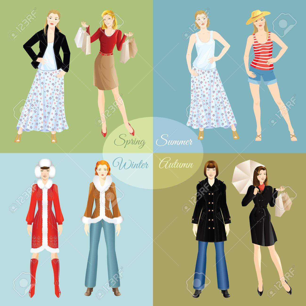 7d78573d1a5 Vector - Vector illustration of woman in clothes for different season  isolated on color background. Winter