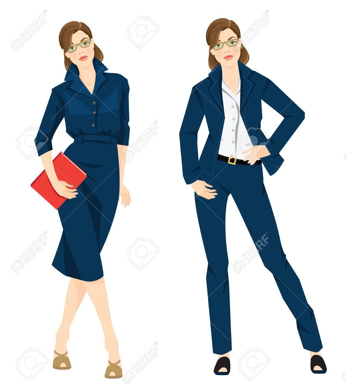 936b08507 Ilustración del vector de código de vestimenta corporativa. Mujer de  negocios o profesor en el vestido azul blusa blanca formales, pantalón azul  y ...