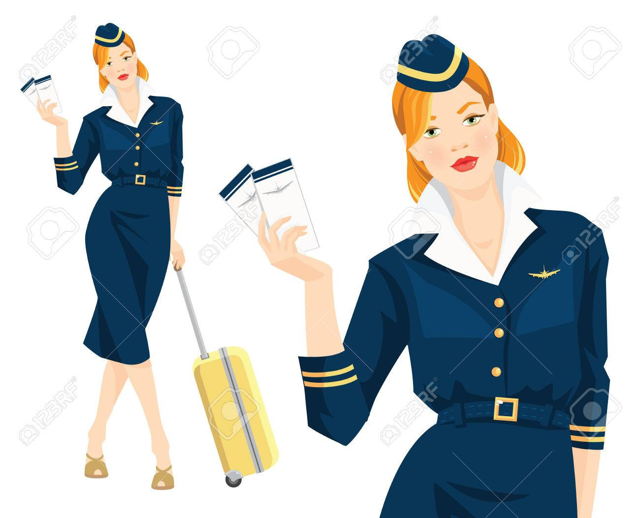 f65609f50df73 Vector - Vector illustration of beautiful redhead air hostess holding  ticket in her hand. Stewardess with travel case. Woman in blue formal  clothes and hat ...