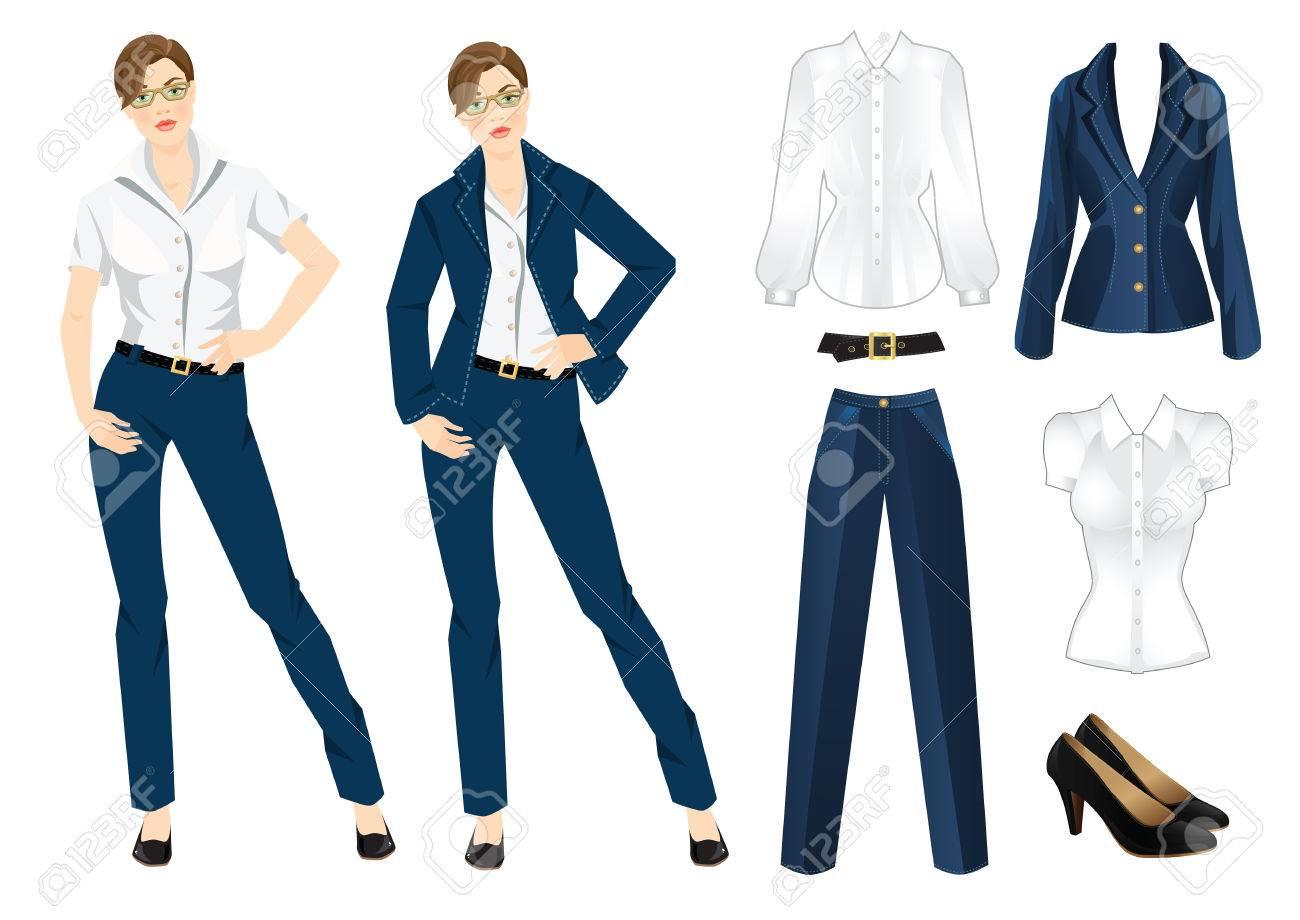 08efd44d2 Ilustración del vector de código de vestimenta corporativa. Oficina  uniforme. Ropa para mujeres. Mujer de negocios o profesor en traje formal  azul ...