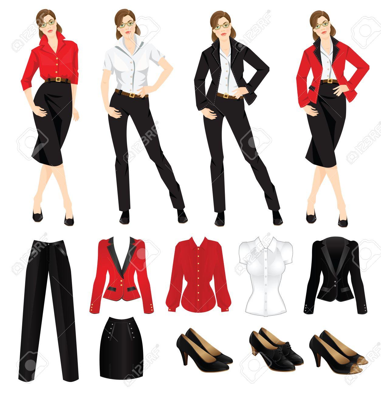 Ilustración del vector de código de vestimenta corporativa. zapatos negros oficiales. Ropa para mujeres. Mujer de negocios o profesor en traje formal