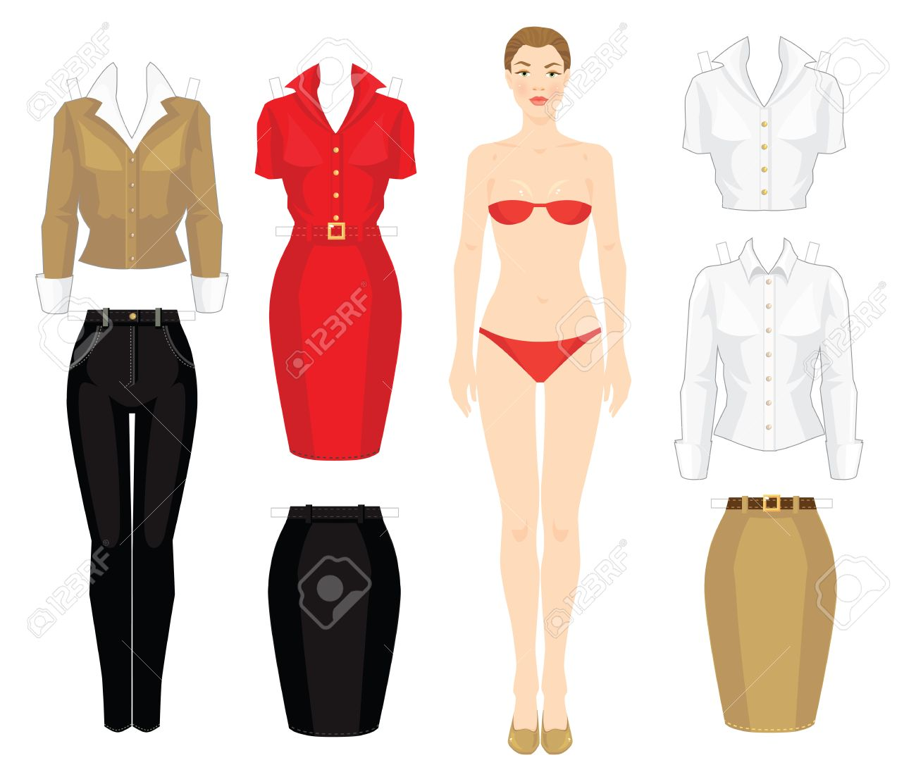 Paper Doll With Clothes. Body Template. Set Of Template Paper ...