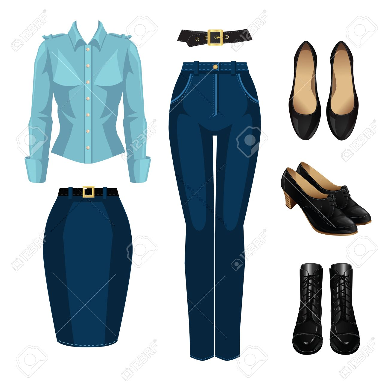 Ilustracion Del Vector De Vestuario Formal Para Mujer Pantalones Formales Azul Falda Camisa Zapatos Clasicos Negros Y Botas Negras Con El Cordon Aislado En El Fondo Blanco Ilustraciones Vectoriales Clip Art Vectorizado