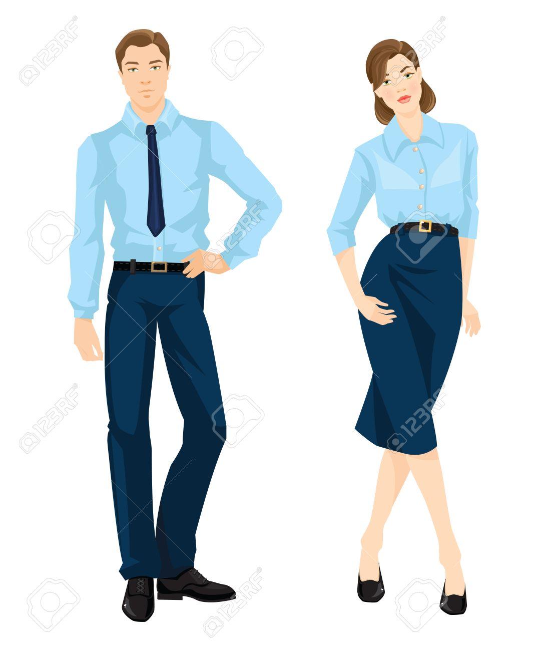 ee6eca644 Ilustración del vector de código de vestimenta corporativa. El hombre y la  mujer en camisa oficial de la luz azul, pantalón azul marino, cinturón ...
