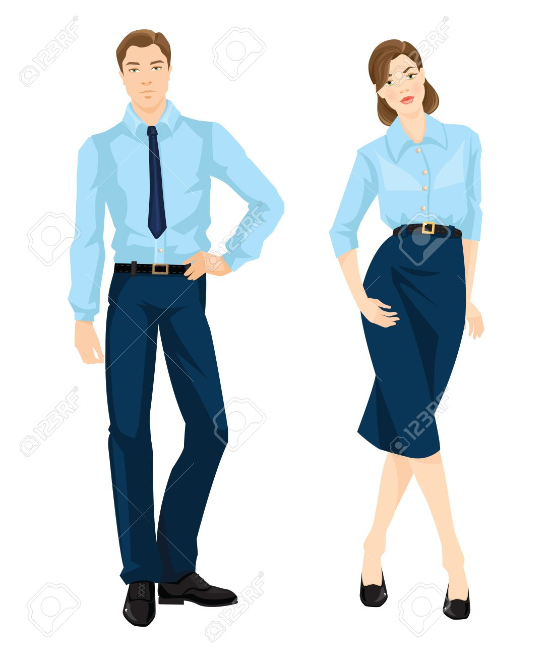 Vector Illustration Of Corporate Dress Code Man And Woman In