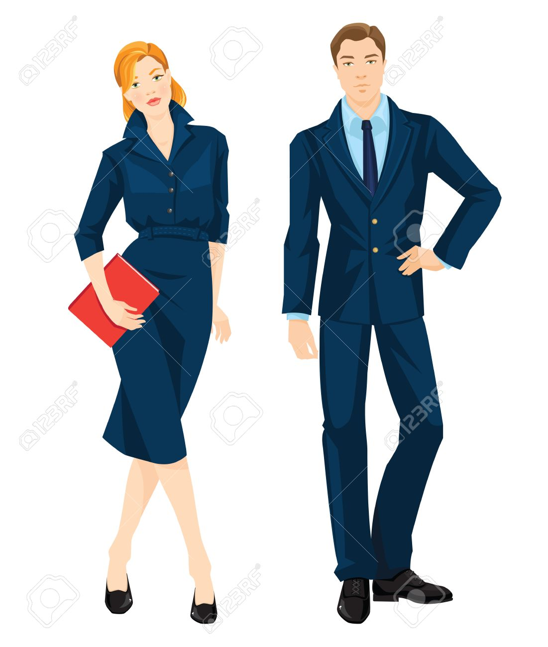 c483467c4a31 Vector illustration of corporate dress code. Young redhead woman in  official blue dress holding document in her hand. Business man in formal  navy blue suit ...