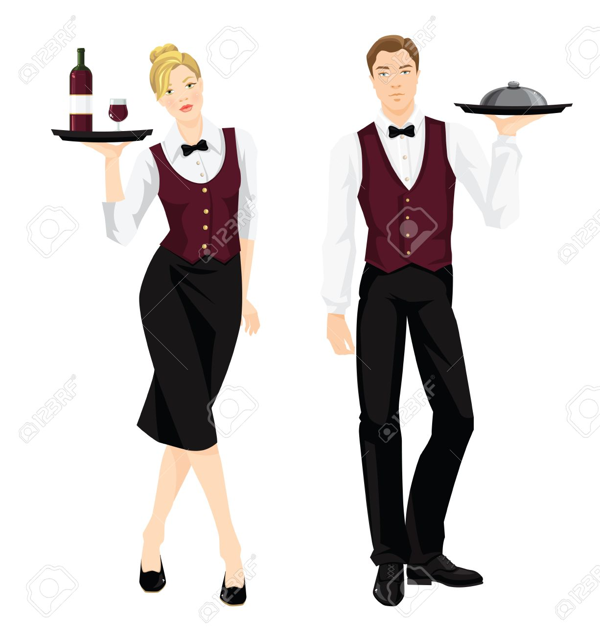 Vector illustration of waiter and waitress in formal clothes isolated on white background. - 56479312