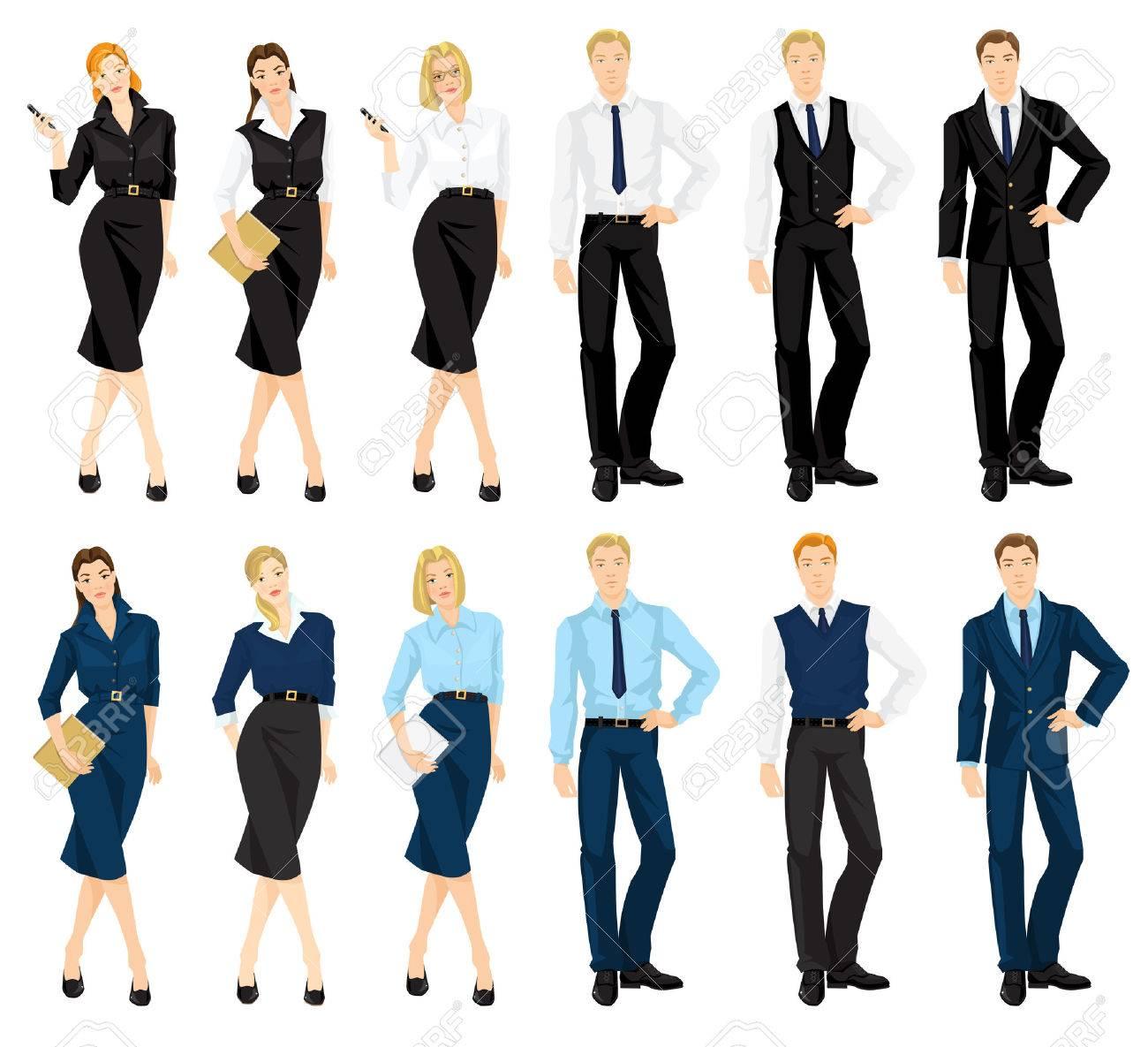 9868f0084 Ilustración del vector de código de vestimenta corporativa. El hombre y la  mujer en trajes azules y negros oficiales aisladas sobre fondo blanco. ...