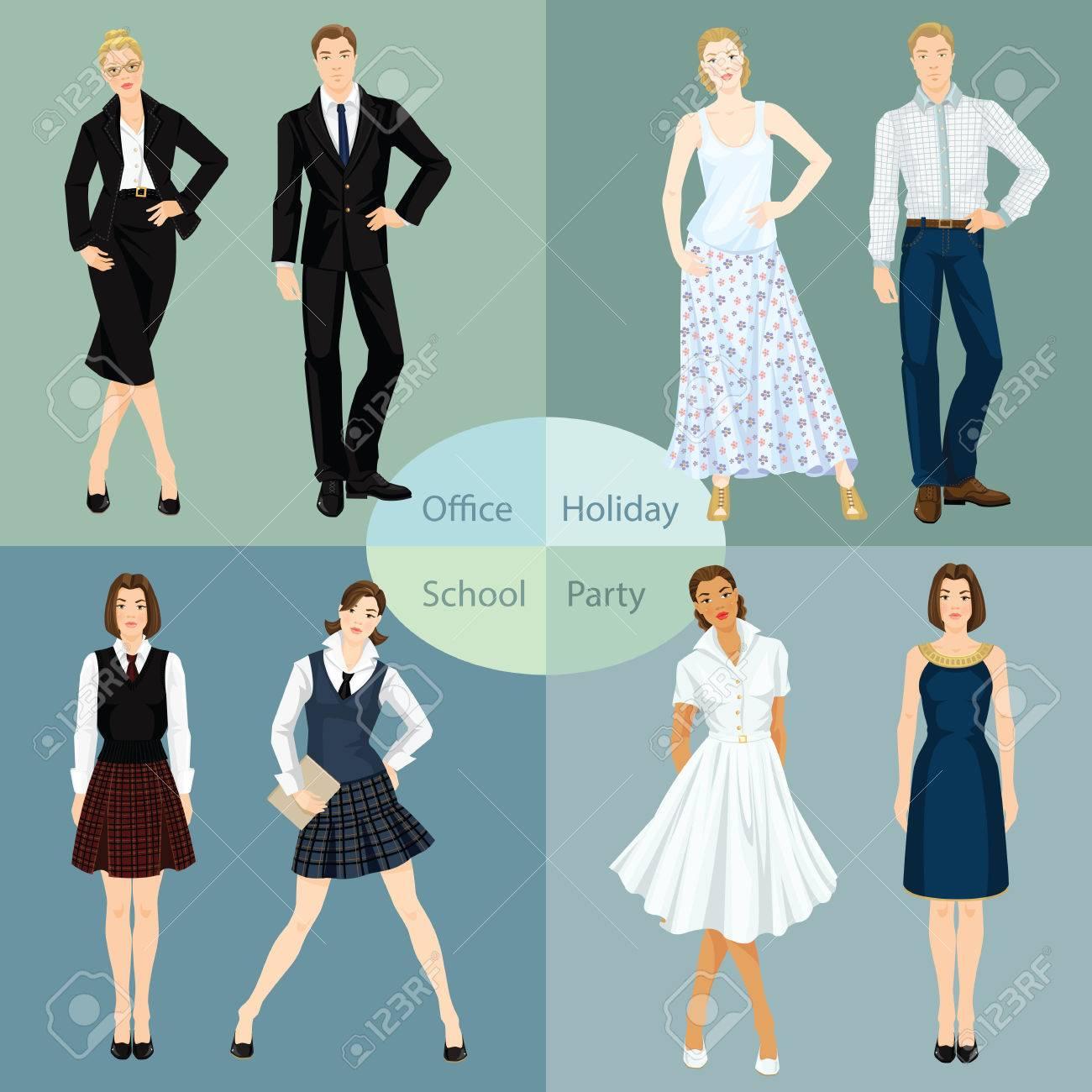 f00f0861d Colección de hombre y mujer en diferentes tipos de ropa. ilustración  vectorial de los jóvenes en la ropa para la oficina, fiesta, la escuela y  ...