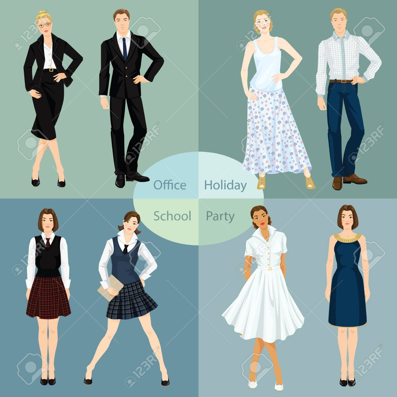 Collection Of Man And Woman In Different Clothes. Vector ...