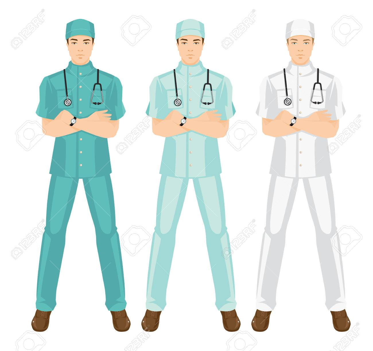 Vector Illustration Of Medical Man In Medical Gown. A Young Doctor ...
