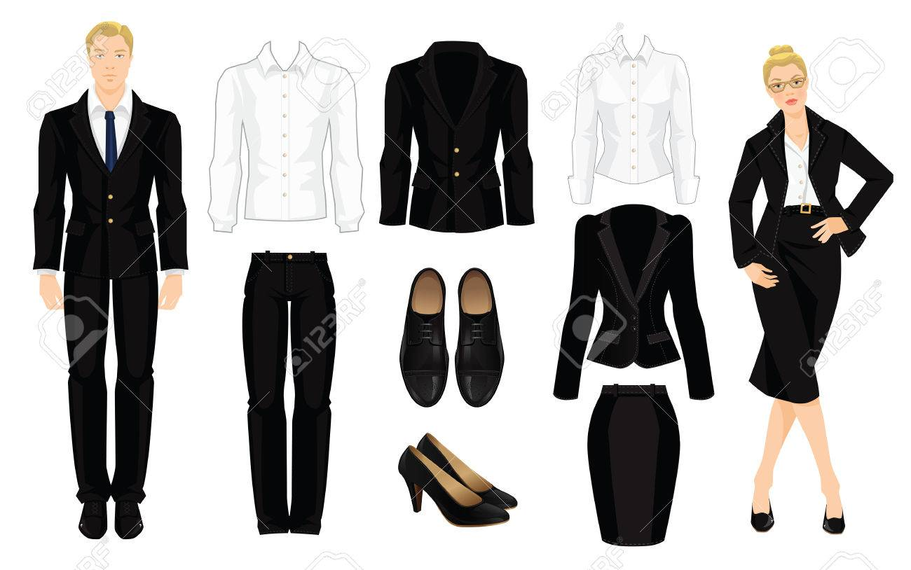 Vector illustration of corporate dress code. Office uniform. Clothes for business people. Secretary or professor in official black formal suit. Woman in glasses. Pair of black formal shoes. - 56941928