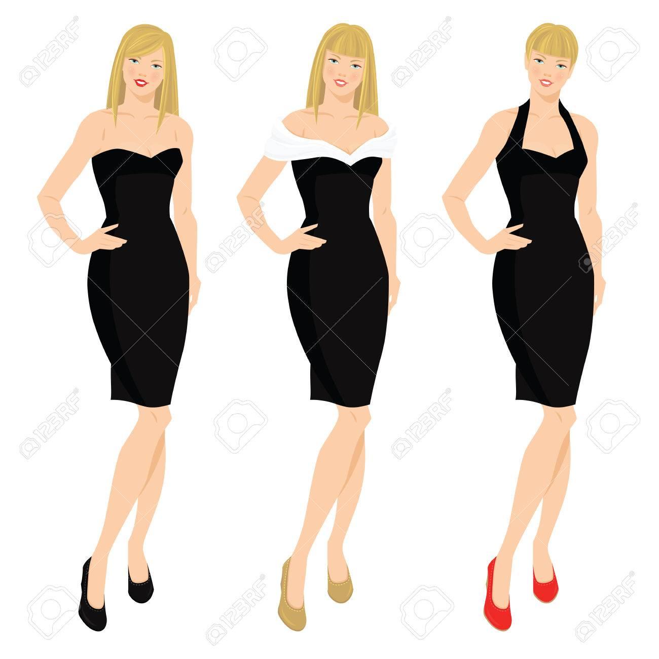 463f10eac76 Banque d images - Vector illustration des femmes élégantes dans le modèle  vaus de petite robe noire. Jeune fille blonde avec différentes coiffures