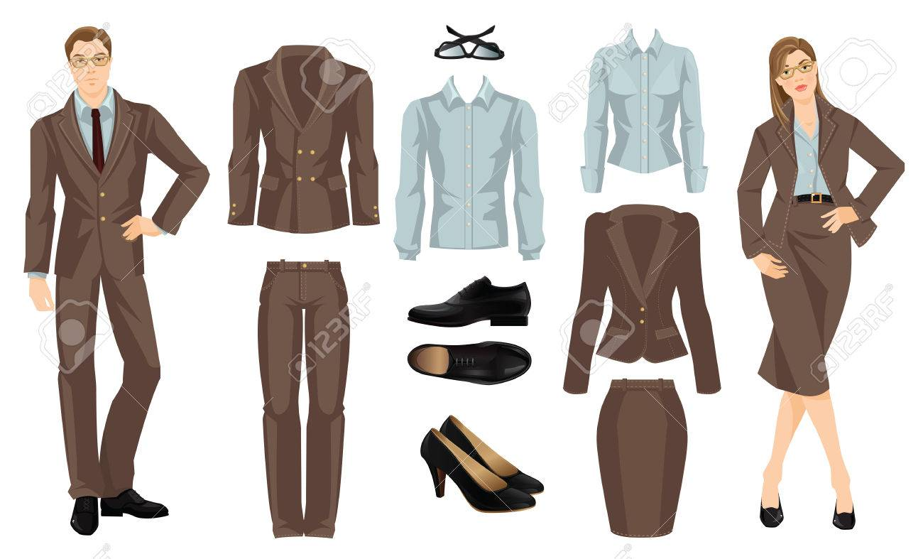 Vector - Vector illustration of corporate dress code. Office uniform.  Clothes for business people. Secretary or professor in formal brown suit.  Woman in ... 2ff8a52aa