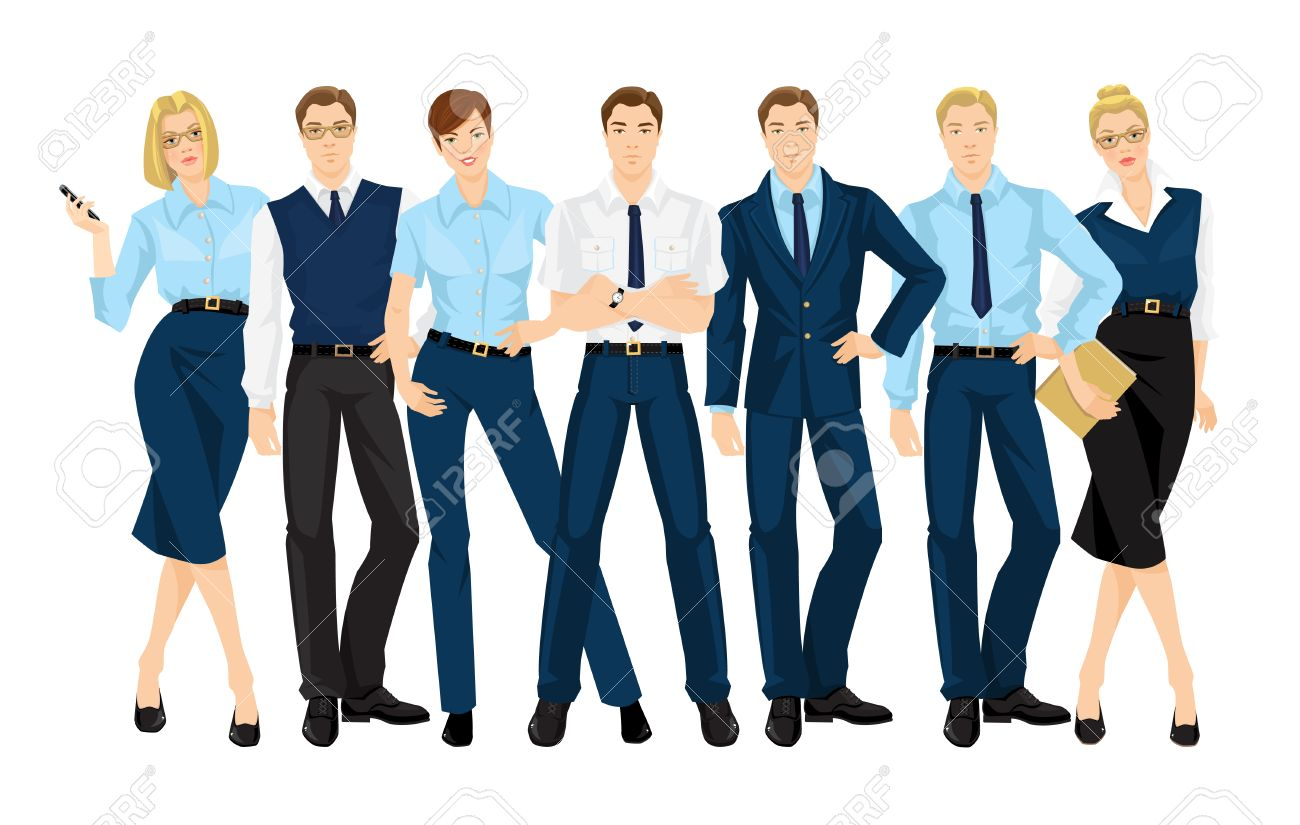 f24889cfec97 Vector - Vector illustration of corporate dress code. Group of business  people. Professional man and woman in official blue suits isolated on white  ...