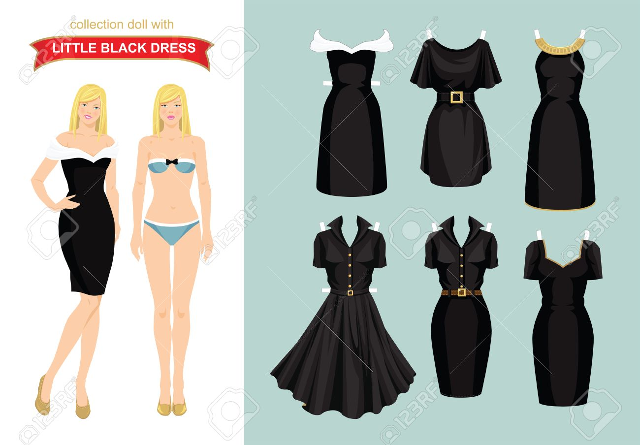 paper doll with collection of little black dress body template