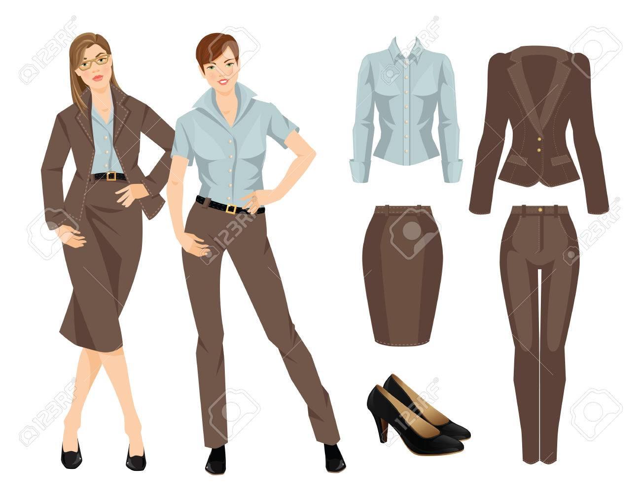175ffb935ea Banque d images - Vector illustration d une jeune fille d affaires ou  professeur dans des vêtements formels. costume marron et des chaussures  noires