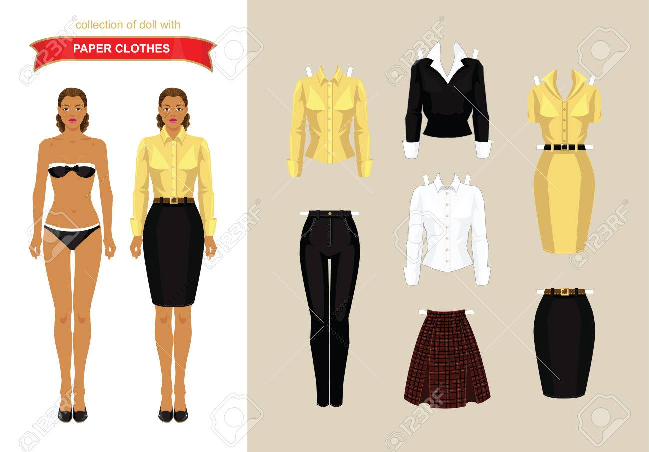 Paper Doll With Clothes. Body Template. Royalty Free Cliparts ...