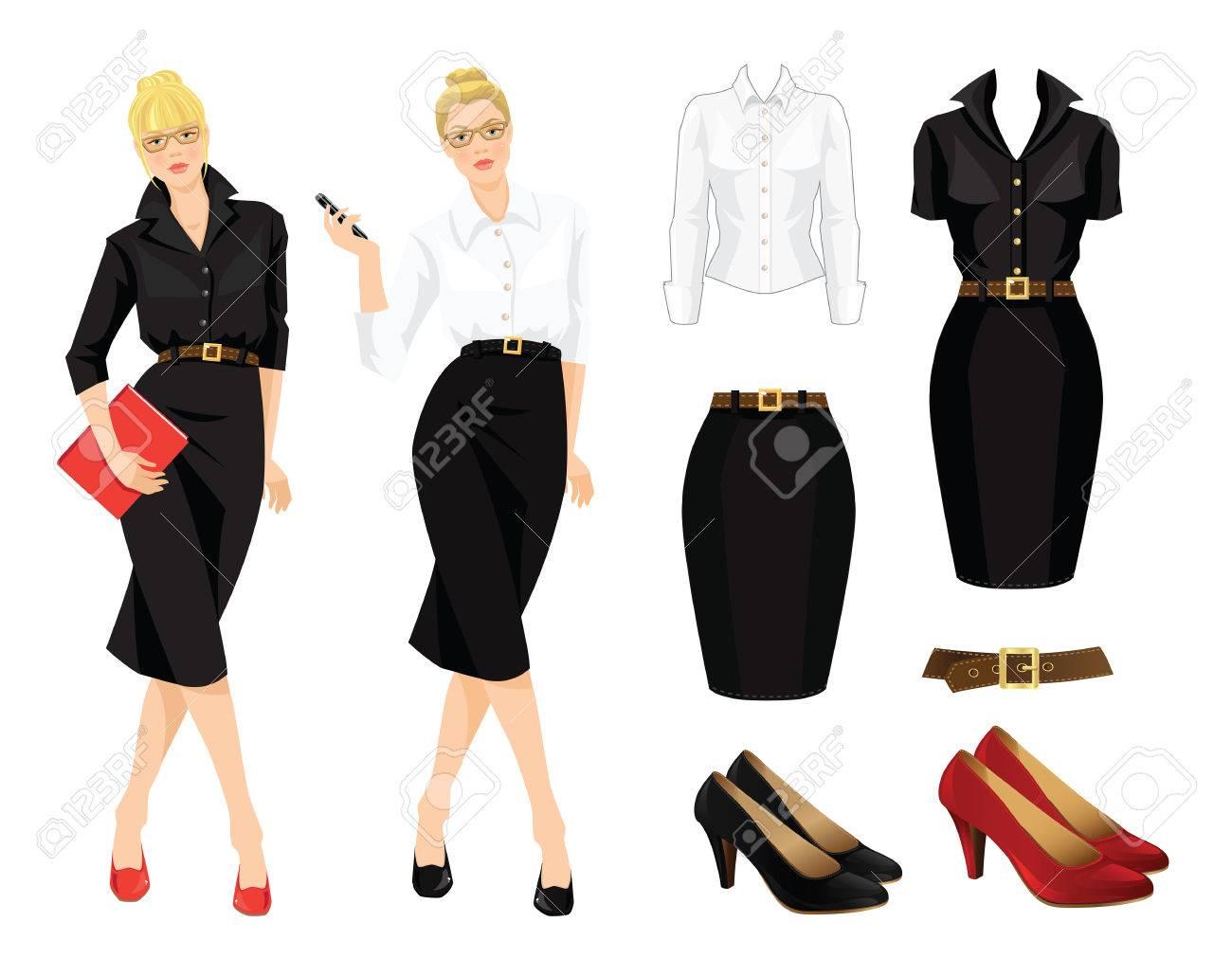 982f8bff Foto de archivo - Ilustración de uniforme de oficina y zapatos formales. Mujer  de negocios o profesor en el vestido negro. Secretaria teléfono del  teléfono ...