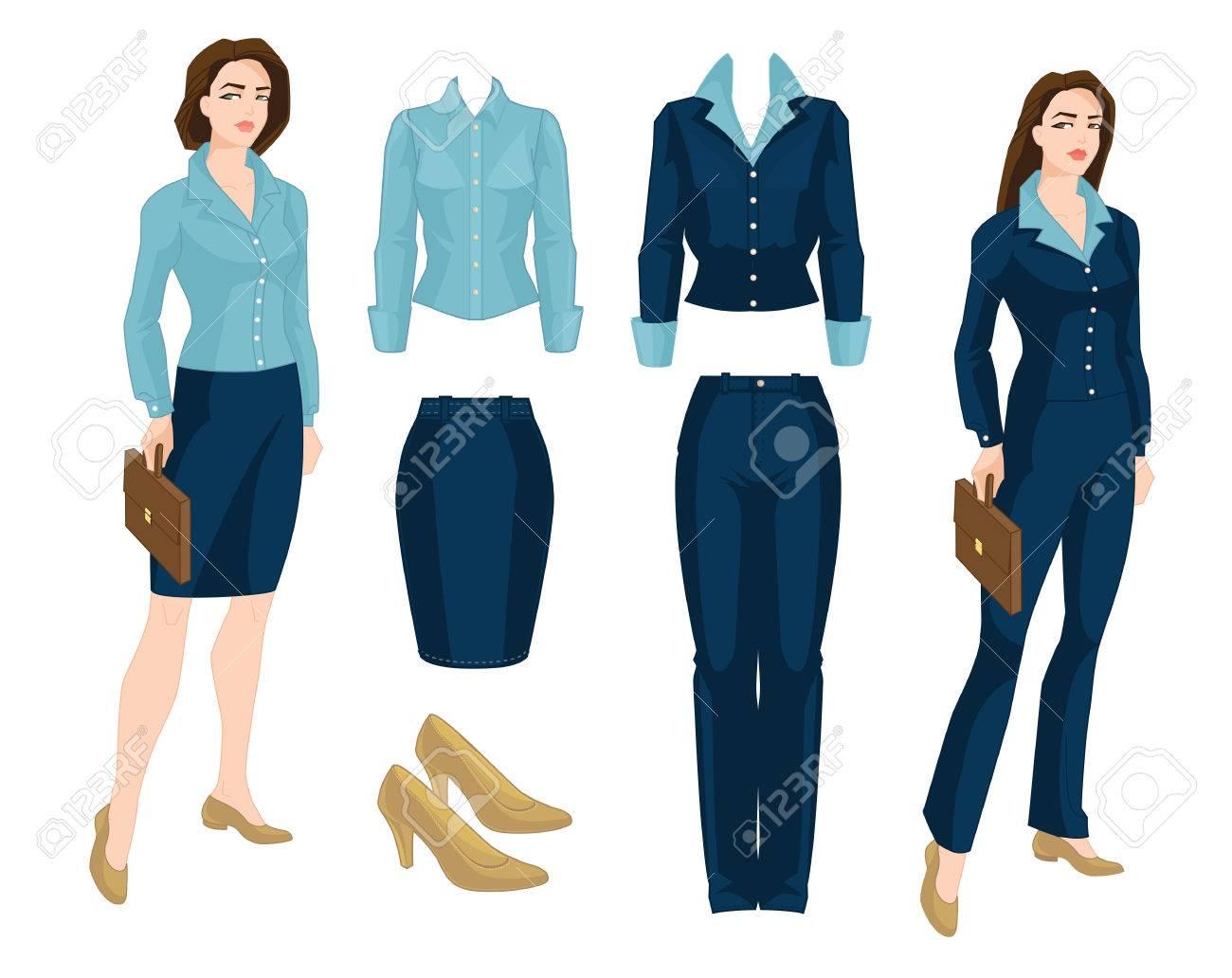 Vector Illustration Of Corporate Dress Code Business Girl Teacher