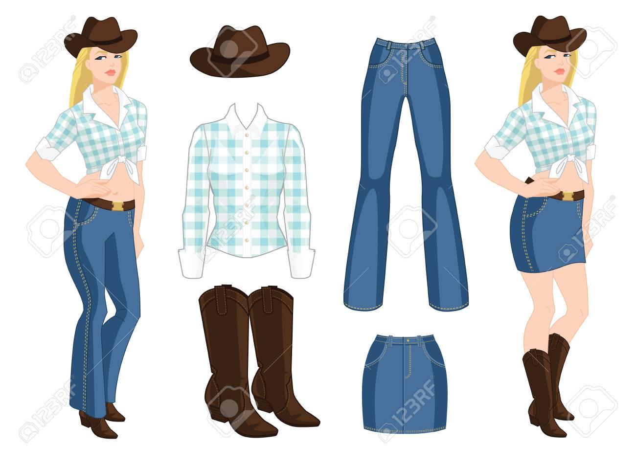 d119f685a Una ilustración vectorial de vaquera rubia. Blue jeans, falda de mezclilla,  sombrero y botas sobre fondo blanco. Estilo de país de la ropa en el ...