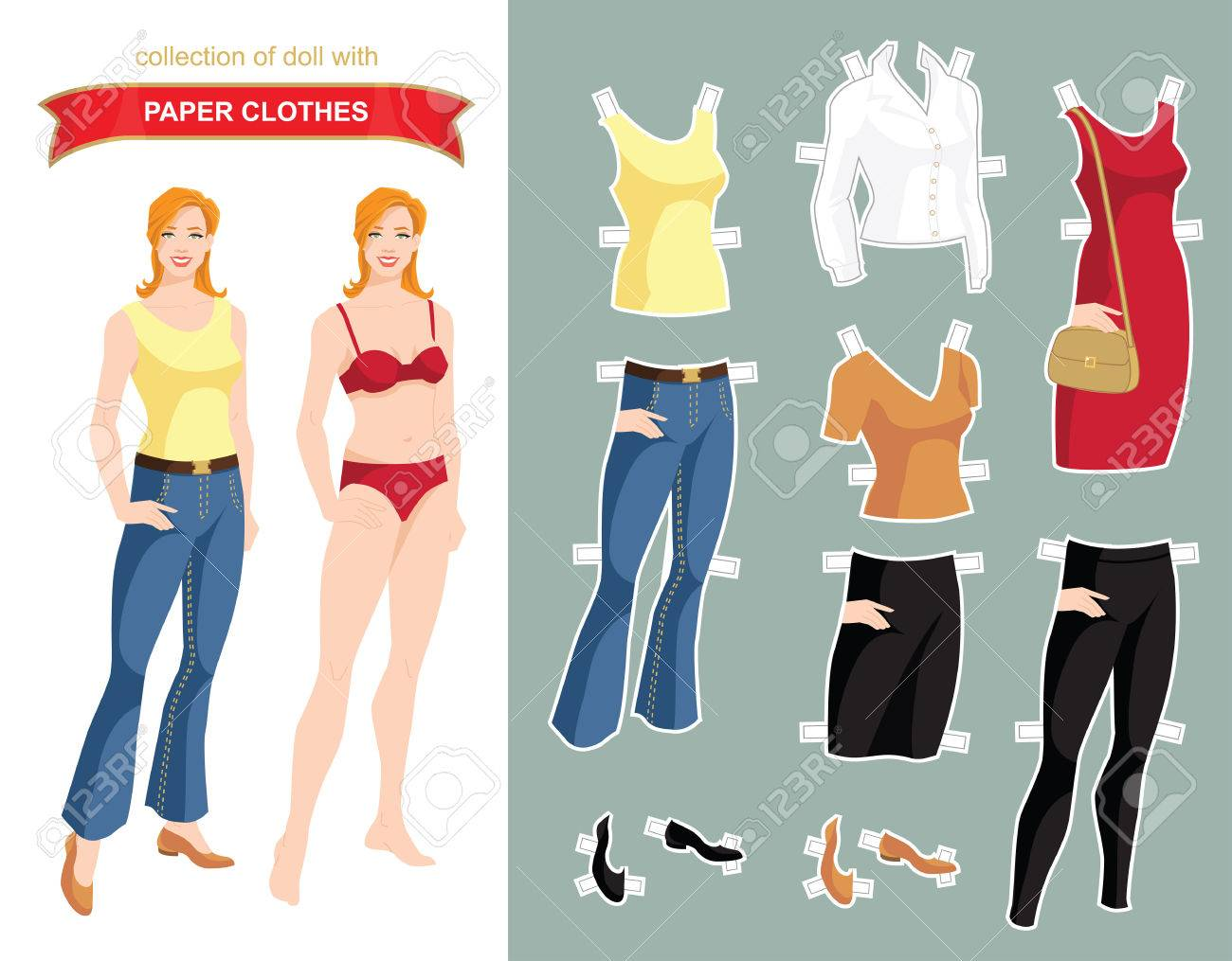 paper doll with clothes for office and holiday body template