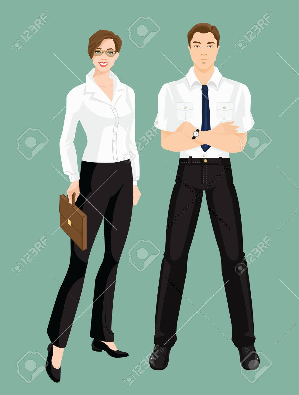 79498585d47e Vector - Vector illustration of corporate dress code, Group of business  people, Professional man and woman in formal clothes isolated on color  background.