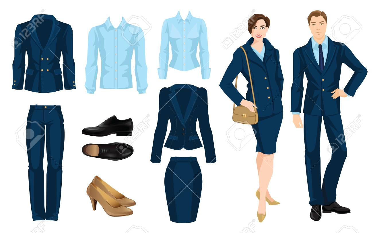 Clothes for business people. Secretary or professor in official blue formal  suit. Pair of black formal shoes. Vector illustration of corporate dress  code. d0227e70e