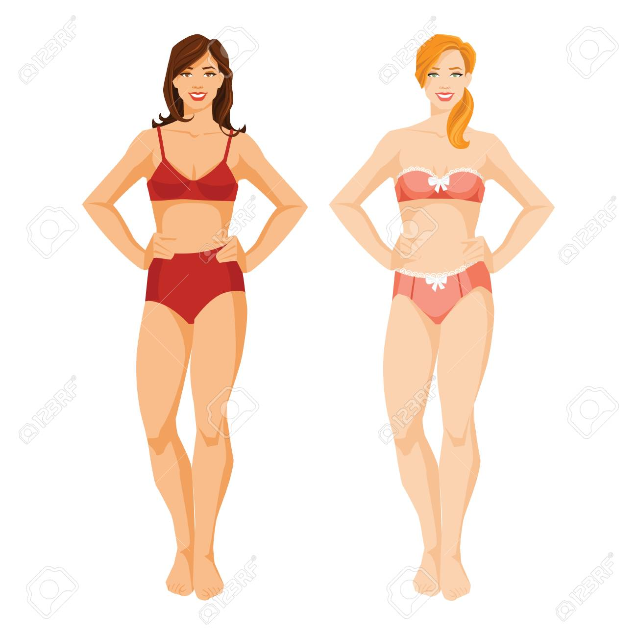 Ilustración Vectorial De Chicas En Ropa Interior En Blanco