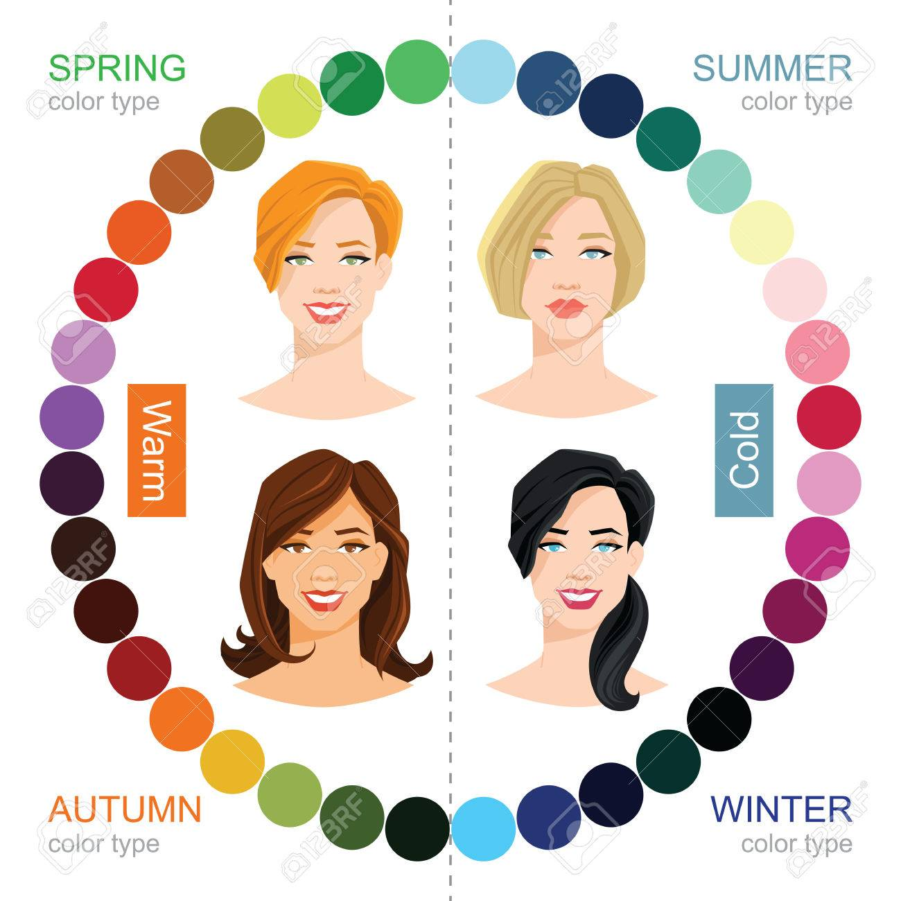 vector illustration of seasonal color palette for spring summer