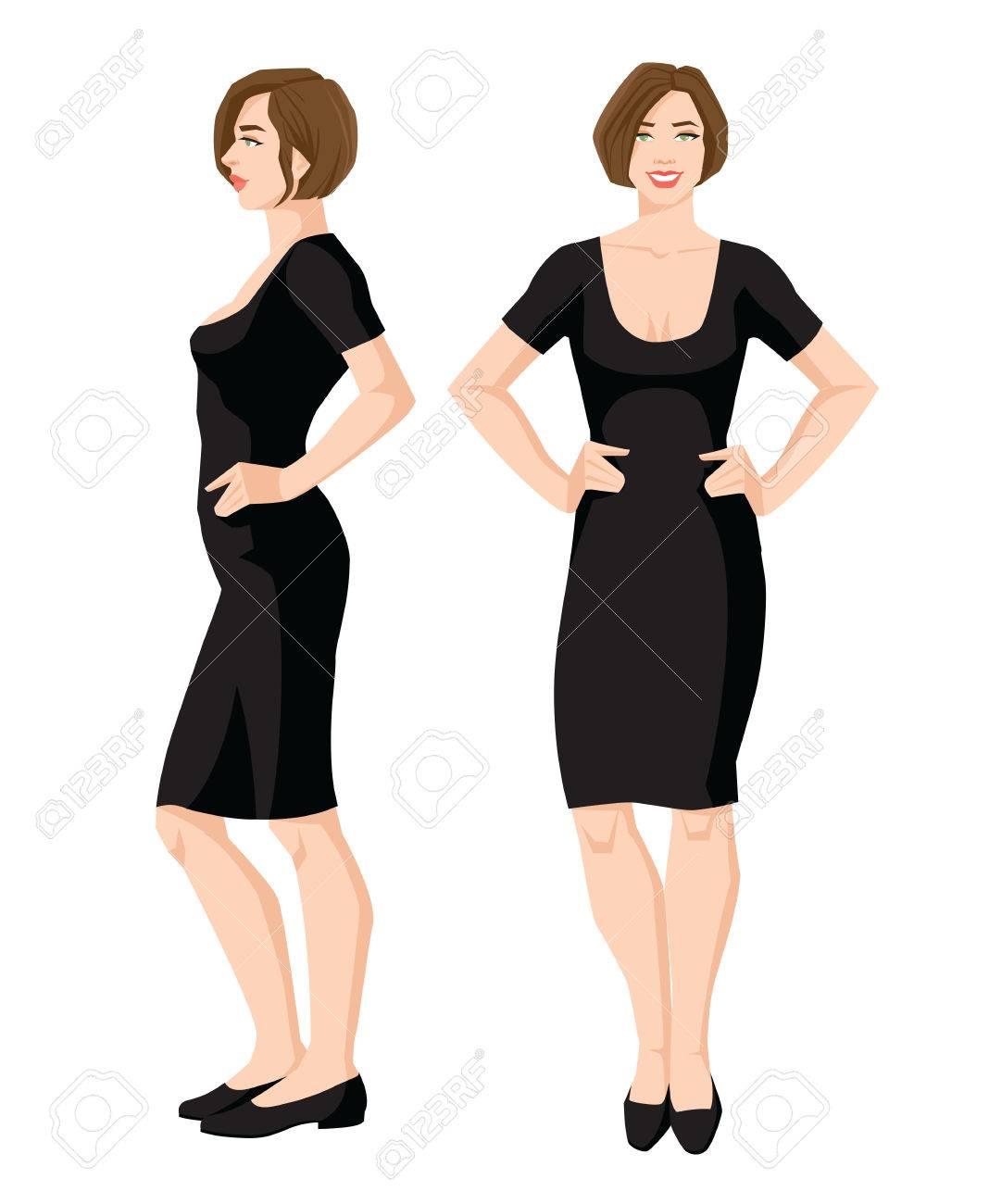 黒のドレスと白の背景に靴の女性のベクトル イラスト。様々 な女の姿になります。正面図と側面図。