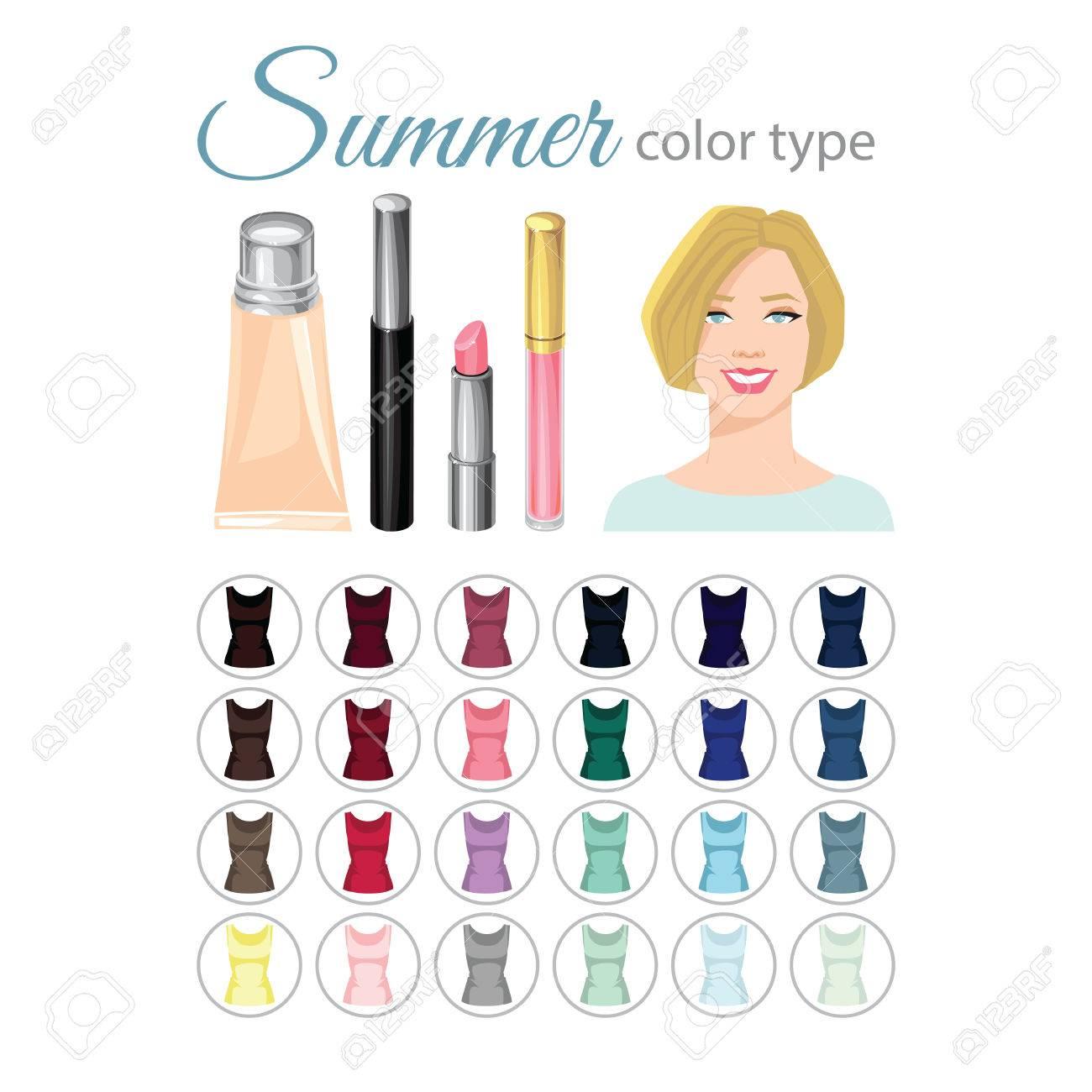 Vektor Illustration Der Saisonalen Farbpalette Fur Den Sommer Typ