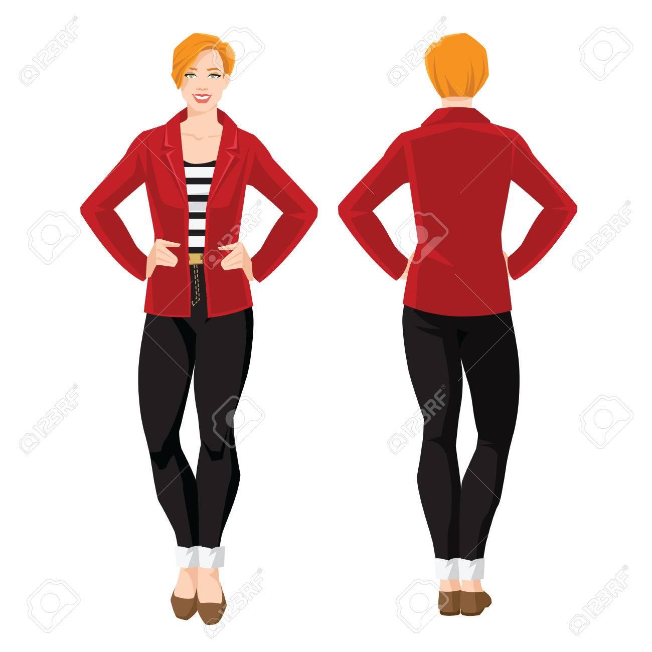 ストライプのシャツ、黒のジーンズ、赤いジャケット、フラットかかとに靴の赤毛の女性のベクトル イラスト。様々 な女の姿になります。正面図と背面図。