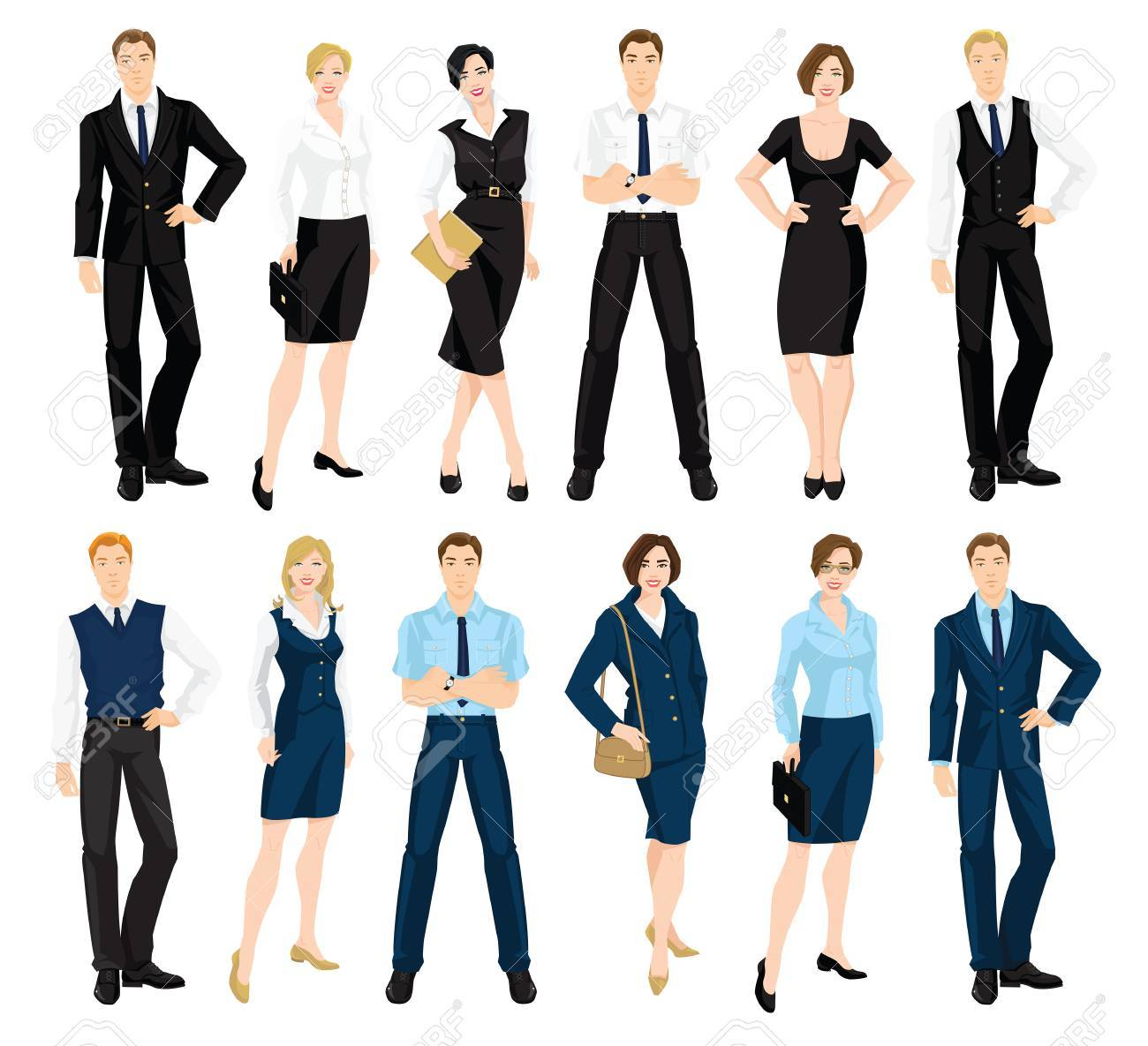 4293a4620f83 Vector - Vector illustration of corporate dress code. Man and woman in  official blue and black suits isolated on white background. Formal wardrobe.