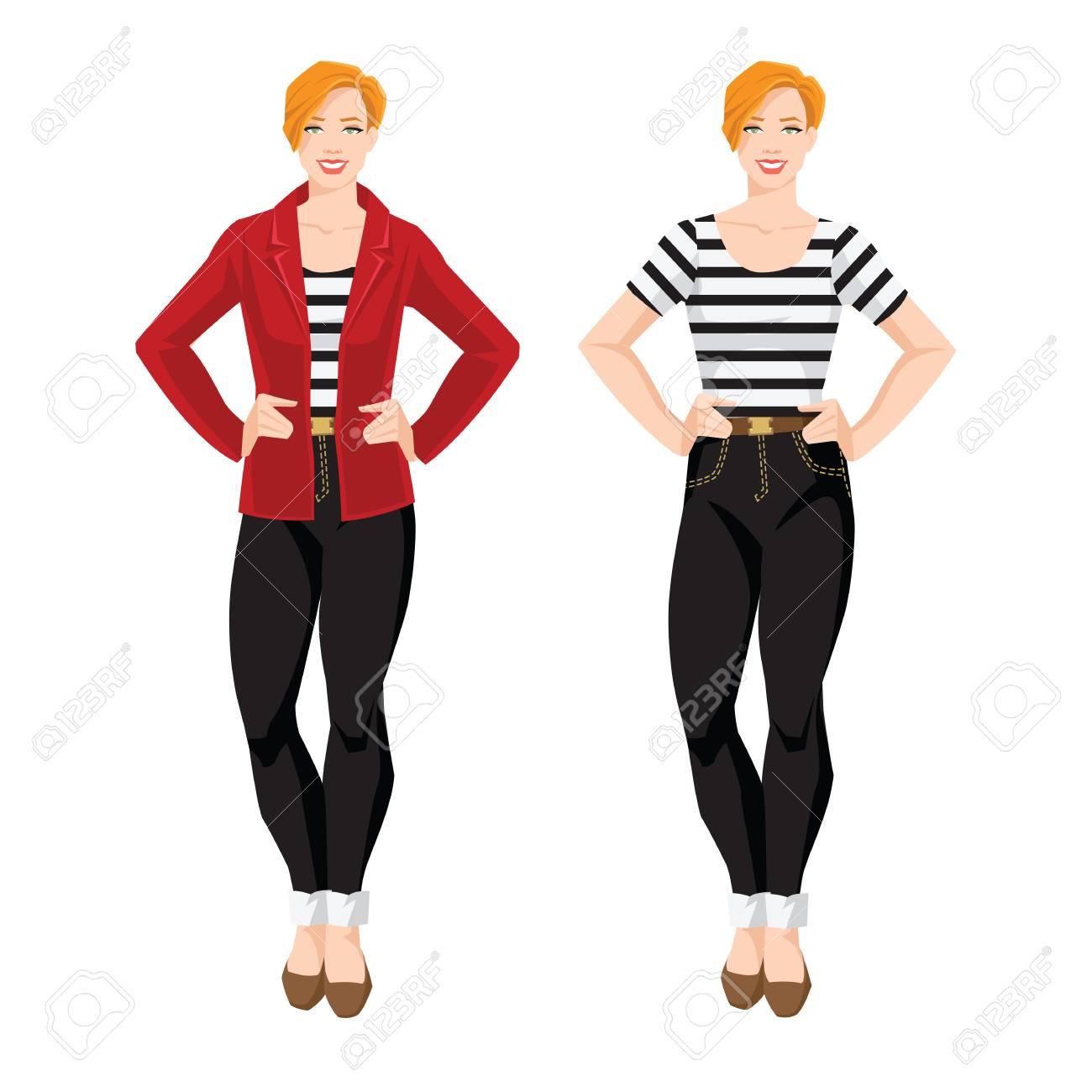 ストライプのシャツ黒のジーンズ赤いジャケットフラットかかとに靴