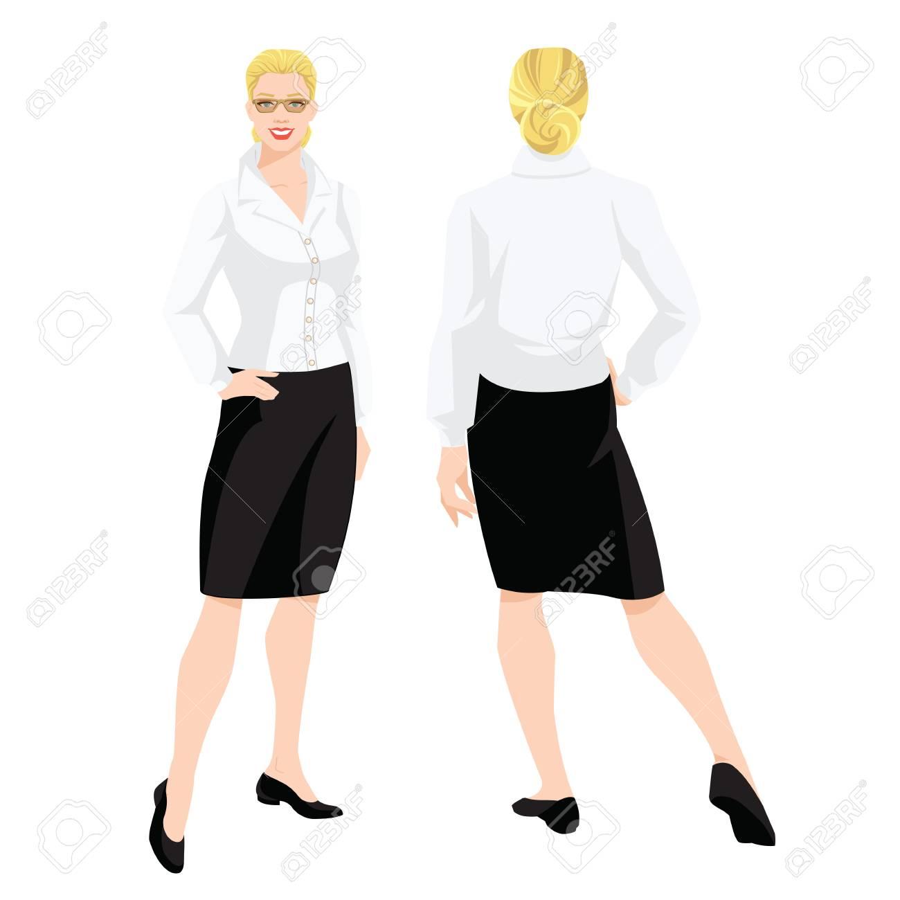 正式な黒スカート、白ブラウスと白い背景の平らなかかとの靴の女性のベクトル イラスト。様々 な女の姿になります。正面図と背面図。