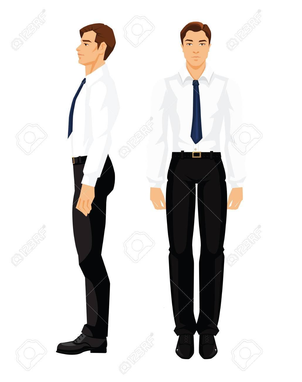 Negros Sobre Del En De Y Ilustración Aislados Camisa Hombre Figura La Formal Fondo Negocios BlancoVarias Blanca Vueltas Vectorial Pantalones 0X8OnPkNw