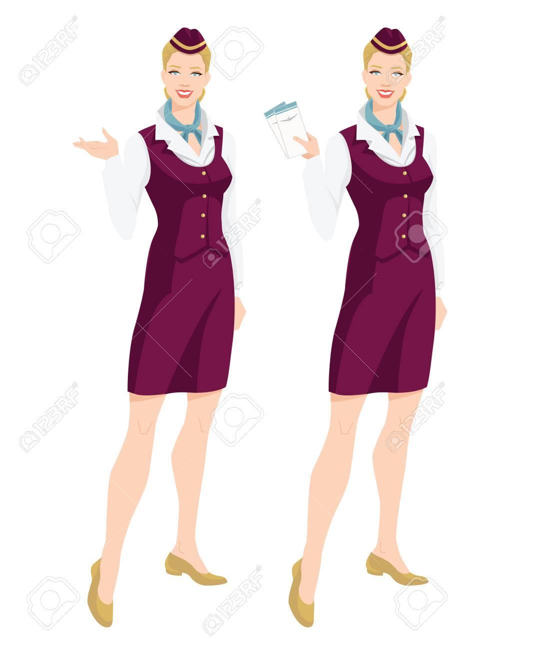 Illustration Vectorielle De L Hotesse De L Air En Uniforme Et
