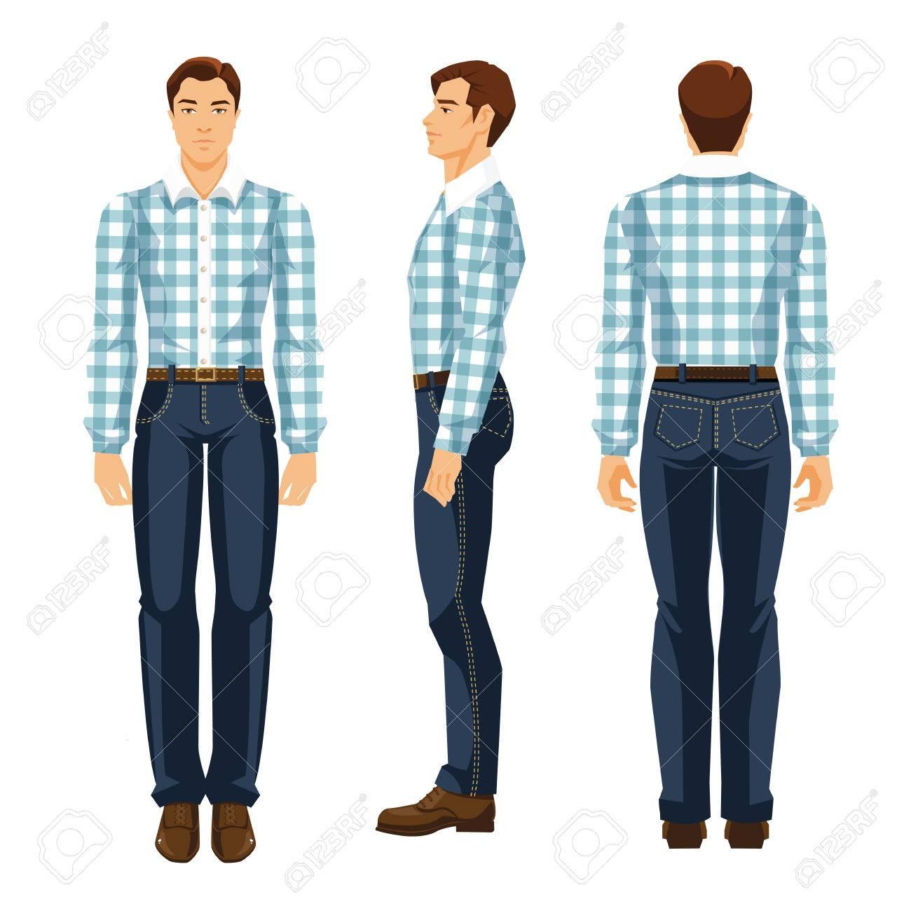 La En Del Pantalones TartánVarias Ilustración Joven Hombre Y Patrón Figura El Vueltas Vaqueros Con Camisa Vectorial HombreVista De 9DIH2WeEY