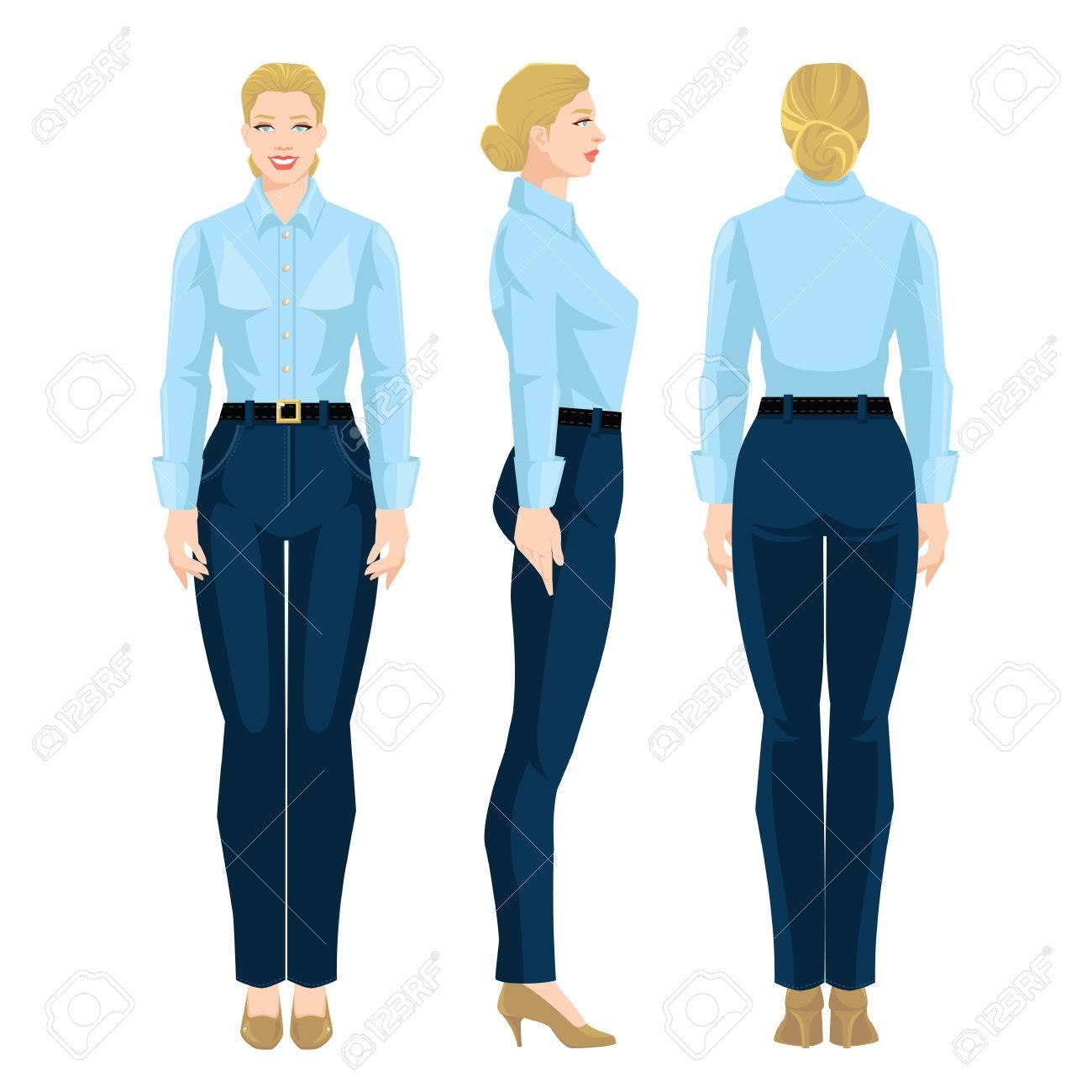 3c4f91a38 Ilustración de vector de código de vestimenta corporativo. Mujer de  negocios o secretaria en ropa formal. Vista frontal, lateral y vista  posterior. ...