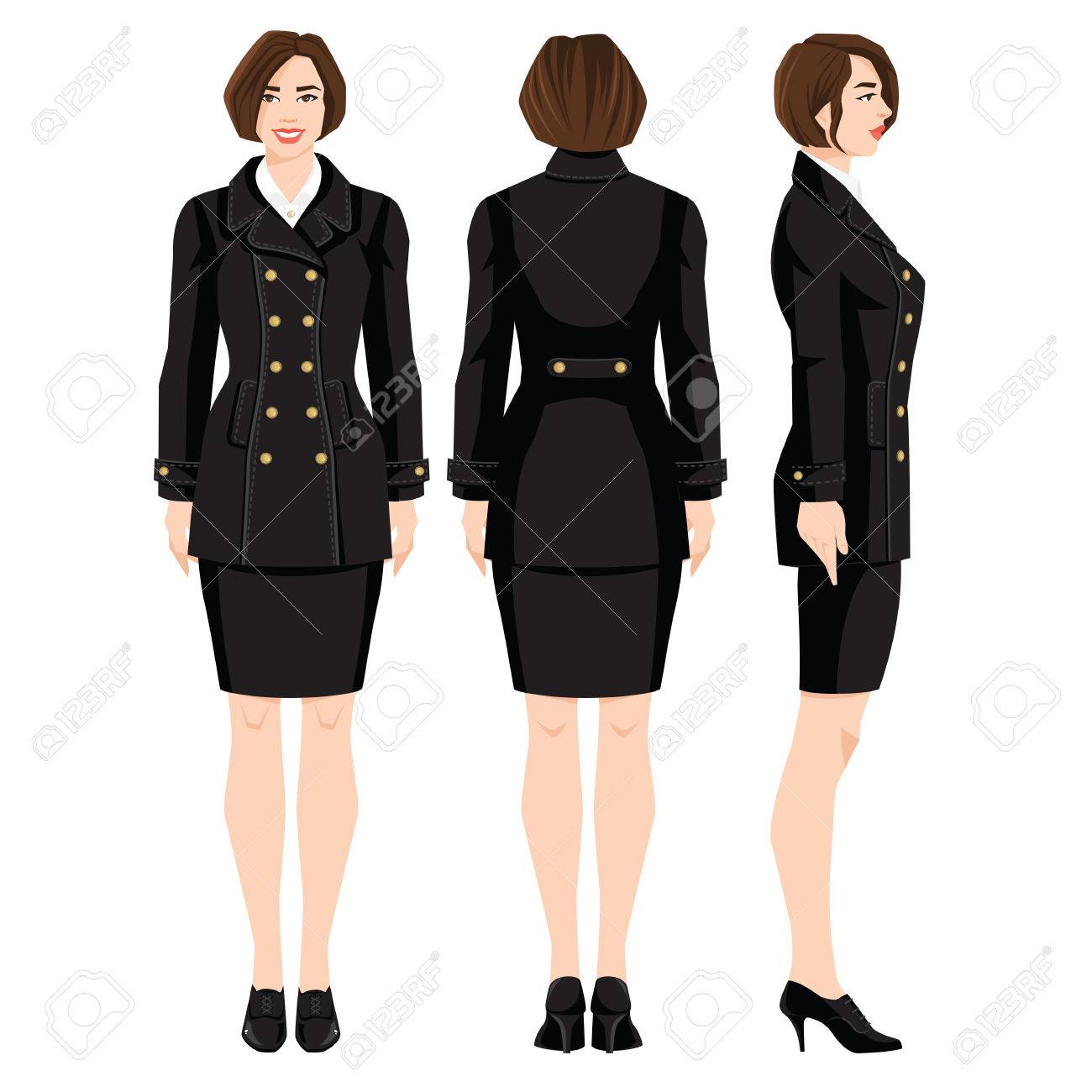 cddb0cf5d2b Vector - Vector illustration of professional girls in formal clothes  isolated on white background. Various turns woman s figure. Side view