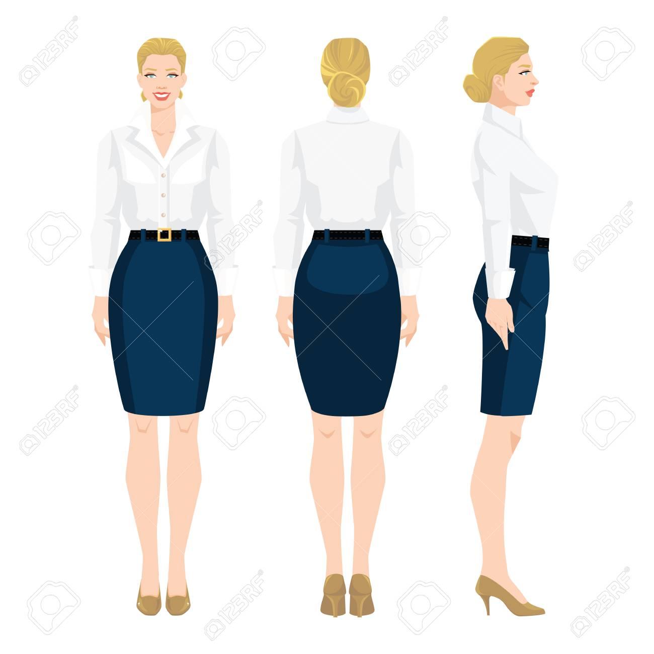正式な青いスカート、白いブラウス、白い背景の上の高さヒールの靴で女性のベクトル イラスト。様々 な女の姿になります。正面図と背面図。