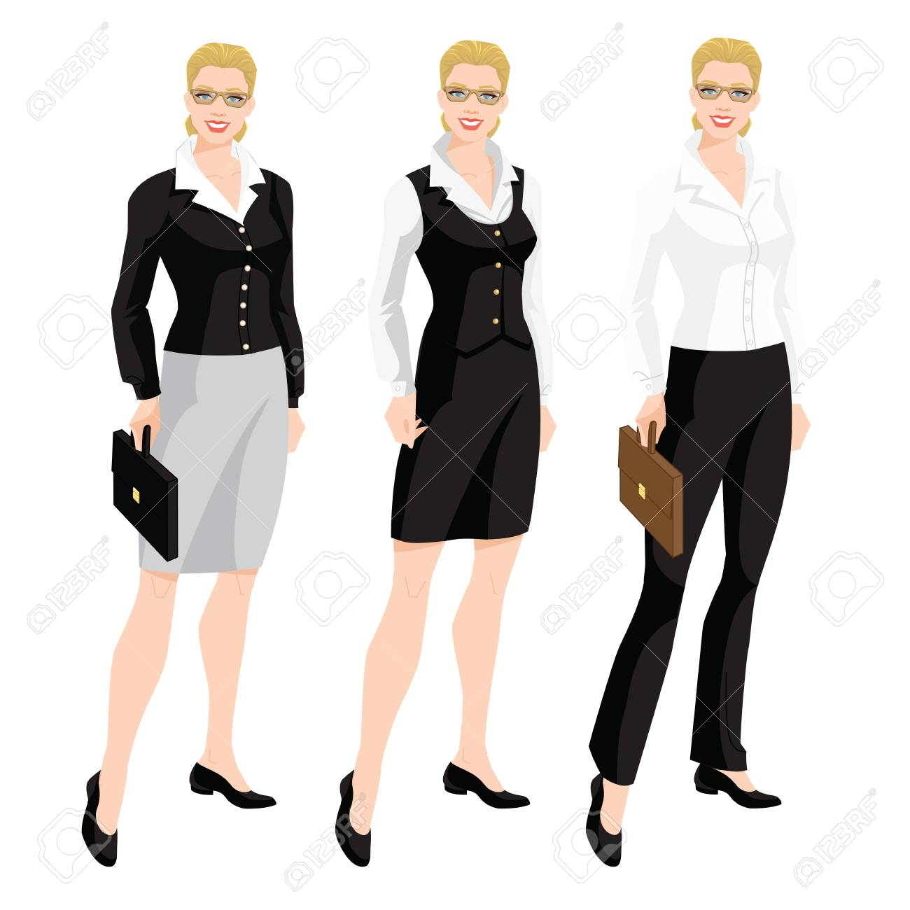 e8b66a228 Foto de archivo - Ilustración de vector de código de vestimenta  corporativo. Mujer de negocios o secretaria en formal vestir. Blusa blanca