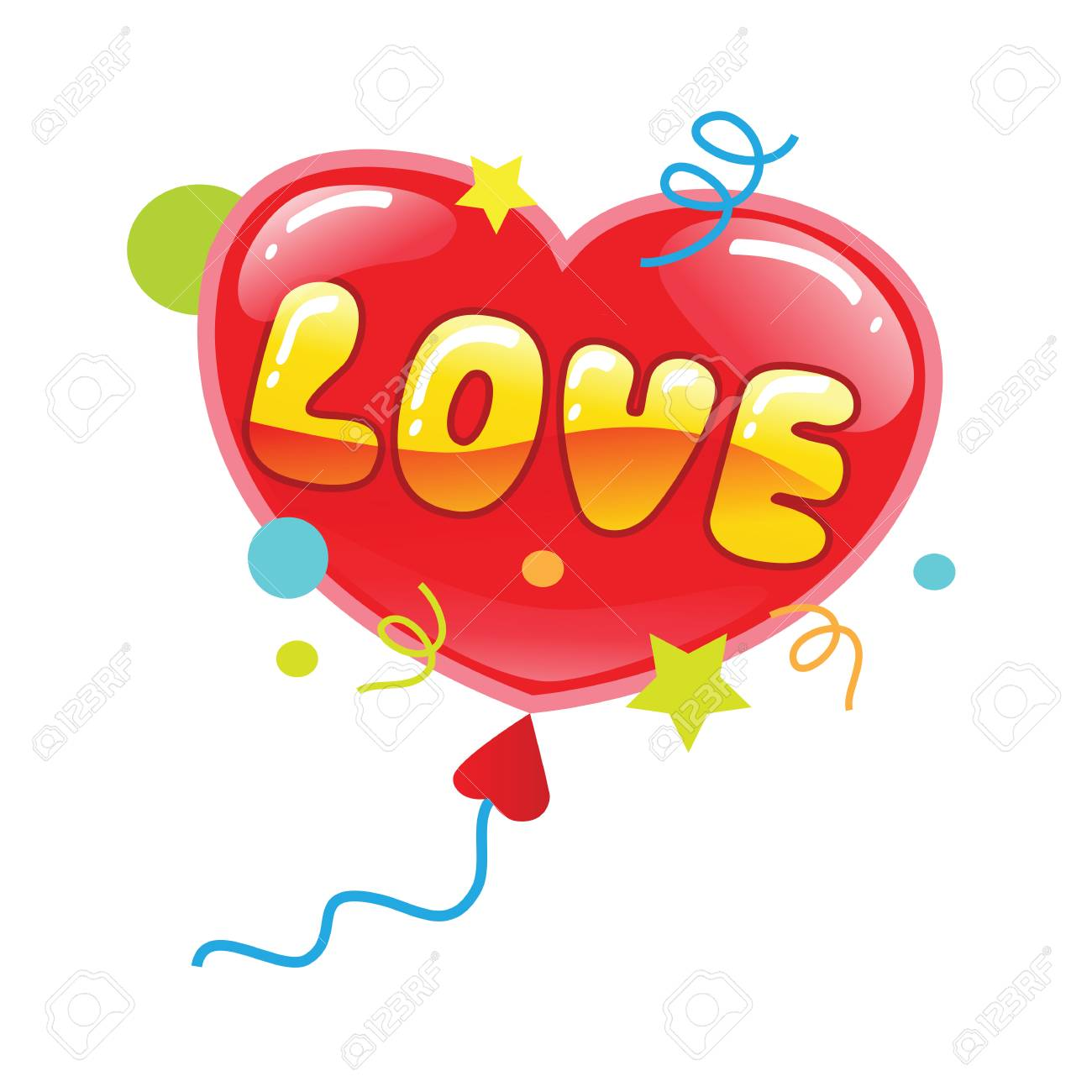 Red Heart Balloon With Word Love Stock Vector