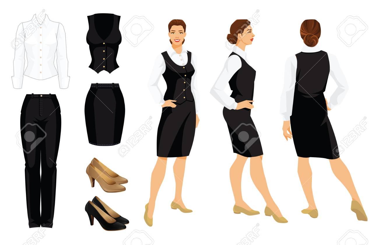 企業のドレスコードのベクター  イラストです。ビジネスの女性やフォーマルな服の教授。正面、側面、背面を表示します。白いシャツ、黒のズボン、ベスト、スキー、白い背景で隔離の靴。