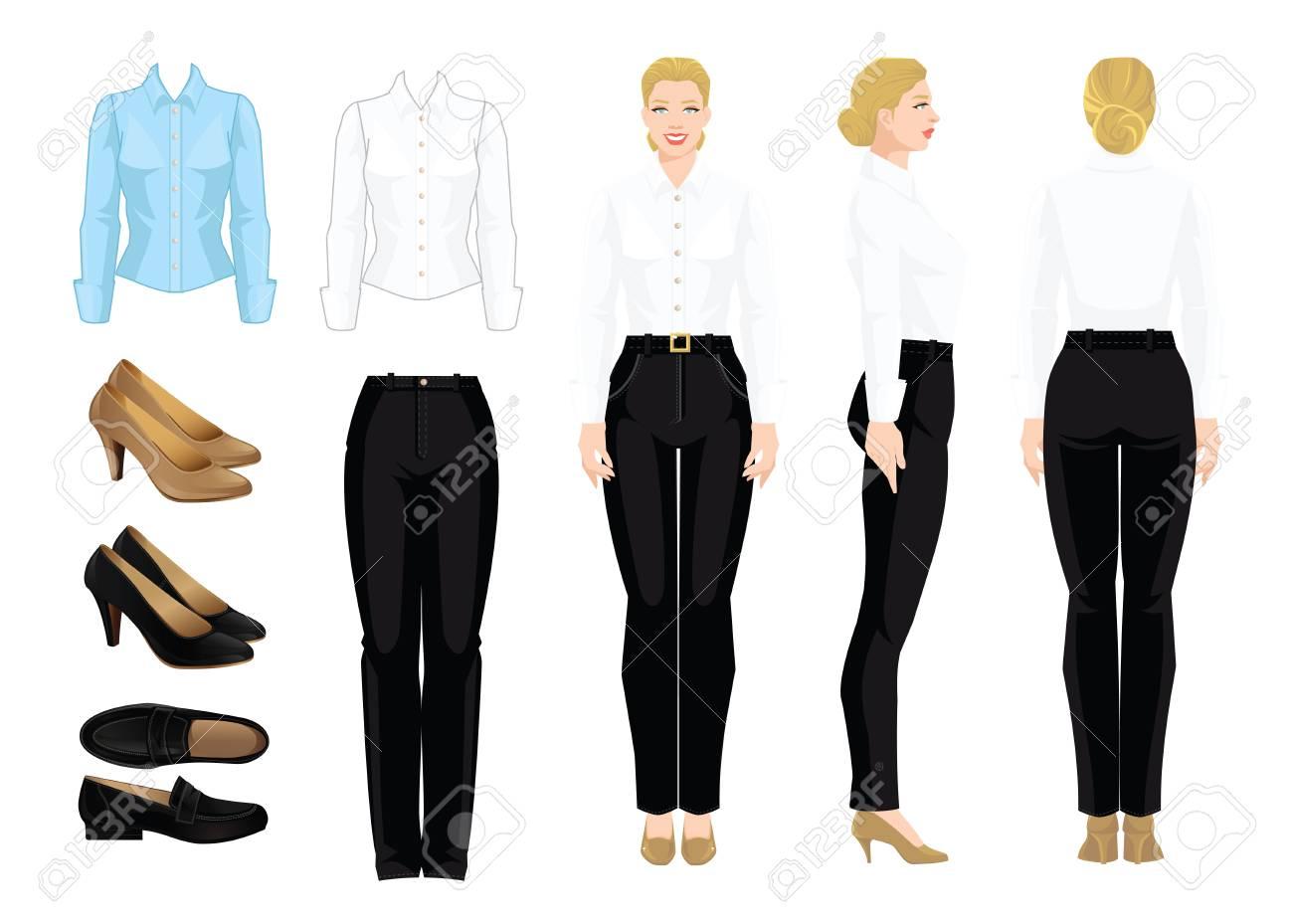 91d8e7771 Ilustración de vector de código de vestimenta corporativo. Mujer de  negocios o profesor en ropa formal. Vista frontal, lateral y vista  posterior. ...