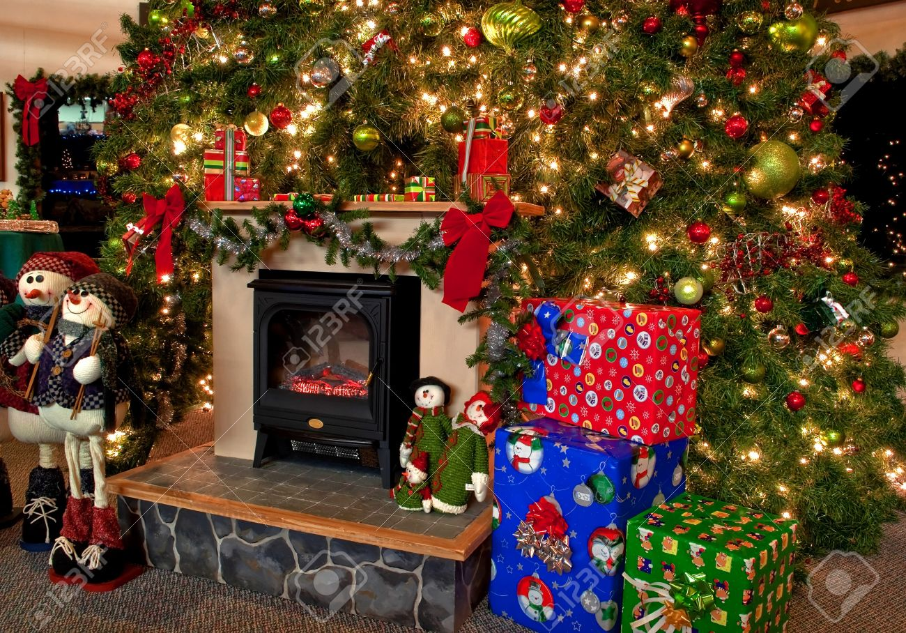 This Image Is A Traditional Christmas Hearth Scene With A Huge ...