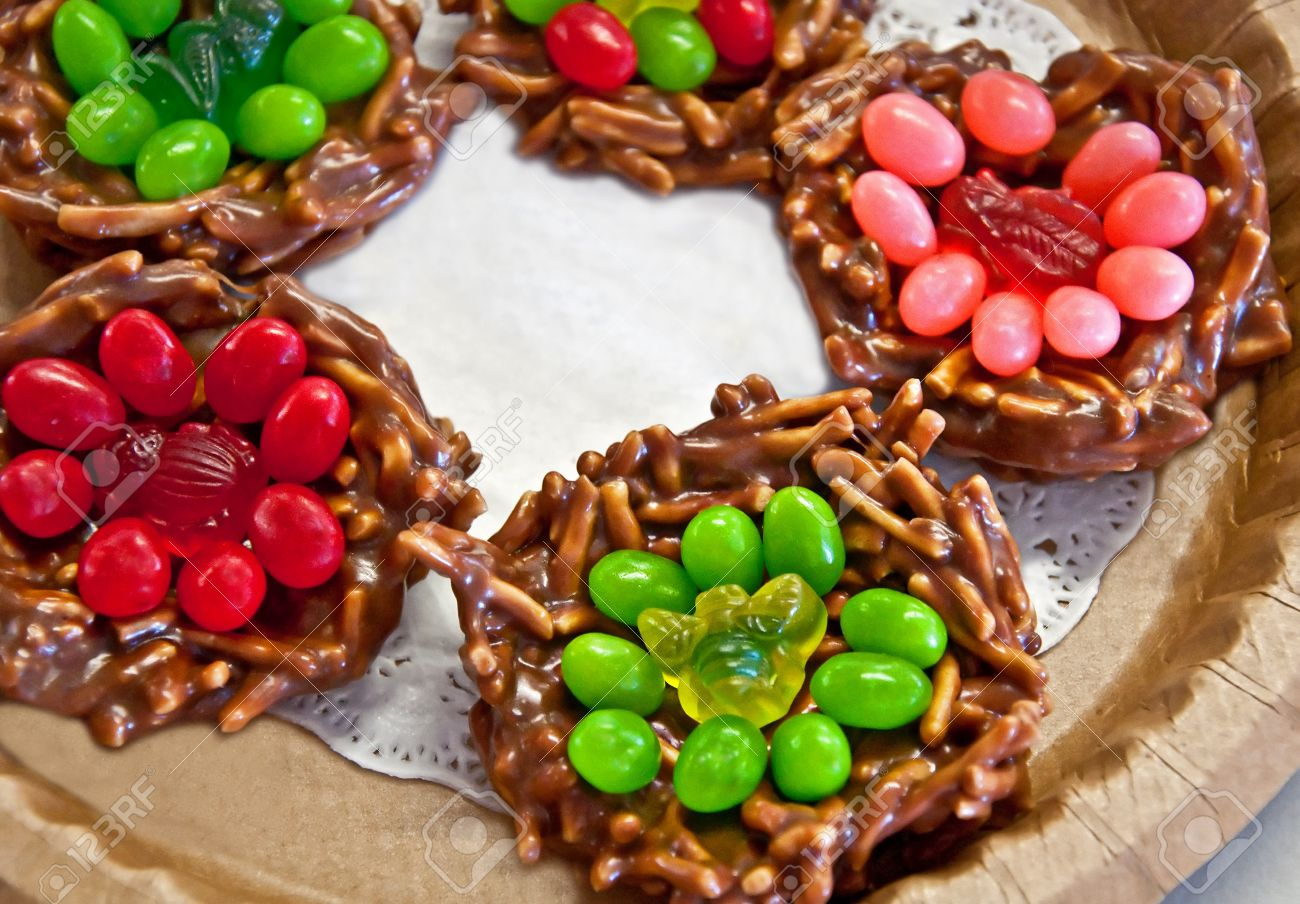 This Plate Of No Bake Christmas Cookies Is A Dish Of Holiday.. Stock ...