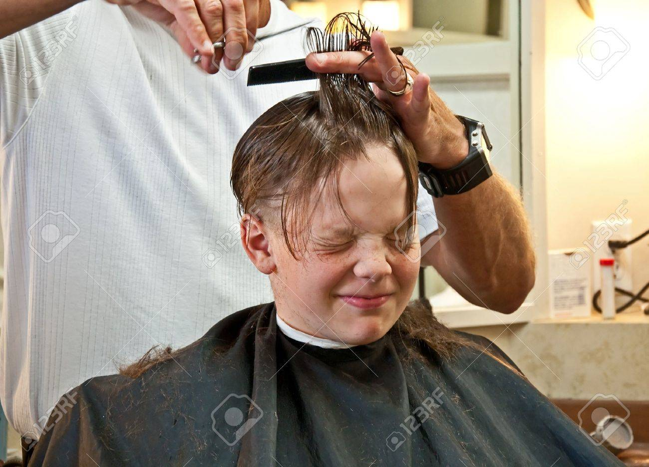 Outstanding This 9 Year Old Caucasian Boy Is Getting His Hair Cut From Quite Hairstyles For Men Maxibearus